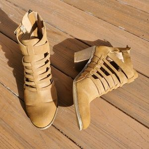 G by Guess Tan Ankle Boots Heeled Booties Strappy